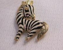 Vintage D'orlan Enameled Zebra Brooch, c1980's