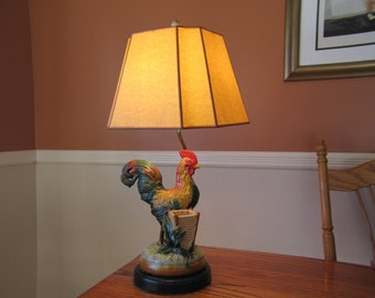 Vintage Ceramic Rooster with Vase on Lamp Stand, Rooster Lamp