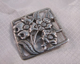 Victorian Sterling Flower Brooch, Sterling Pansy Brooch