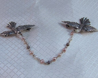 Sterling Love Birds, Doves with Freshwater Pearl Garland Pins