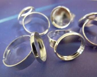 6 ring shanks, blanks, bases, settings, Ø14mm, silver