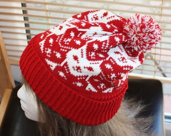Dark Red and cream Cats faces pompom slouchy bobble hat