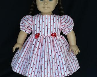 18 inch doll dress.  Fits American Girl Dolls. Valentine's Day dress.  Vintage heart print.