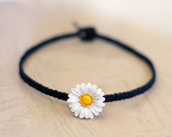 Daisy Hemp Choker Necklace - Festival Boho Jewelry