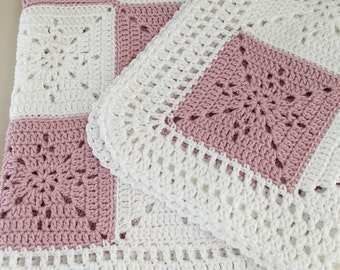 Crochet Blanket Pattern - Arielle's Square - Baby Blanket - Easy Granny Square - Crochet Throw Afghan - Pattern by Deborah O'Leary Patterns