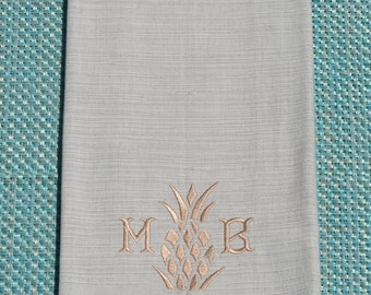 Monogrammed Kitchen Towel Pineapple Motif