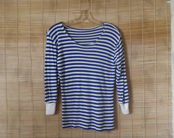 Vintage 1970's Original Navy Sailor Blue and White Stripes T-shirt 3/4 Sleeves Size XS
