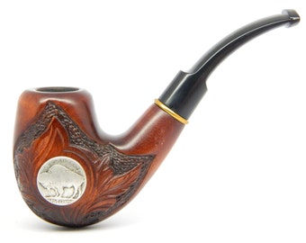 Tobacco Smoking pipe - BUFFALO  Five Cents - (9mm filter) Pear wood, Handmade, New