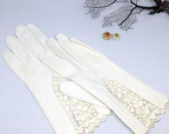 White Italian Leather and Lace Gloves for wedding or tea
