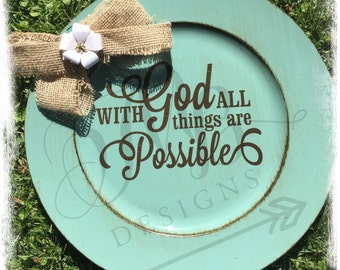 Inspirational plates, decorated plate, home decor, burlap,