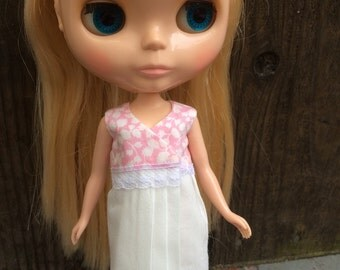 Pink Floral Liberty Retro Wrap Dress for Blythe