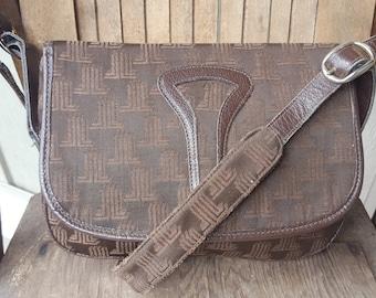 LANVIN    ///     Brown Canvas Leather Satchel