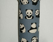 """Insulated Water Bottle Holder for 40oz Hydro Flask with Interchangeble Handle and Strap Made Japanese Fabric """"Posing Panda - Blue Gray"""""""