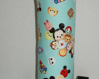 "Insulated Water Bottle Holder for 40oz Hydro Flask / Thermos with Interchangeble Handle/Strap Made with ""Tsum Tsum #2 - Mint"" Fabric"