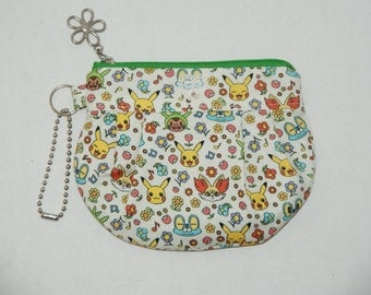 "Gathered Zipper Pouch / Card and Coin purse Made with Cotton Oxford Fabric ""Pokemon - Mini Pikachuu"""
