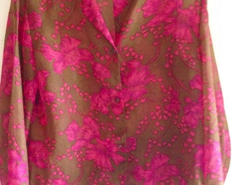 Superb  hot pink and tan 1960s blouse .