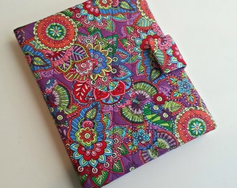 iPad /iPad Air/iPad Pro 9.7/Kindle Fire HD 8.9/10 cover/Samsung Tab A 9.7 cover quilted in Purple Floral/Paisley print