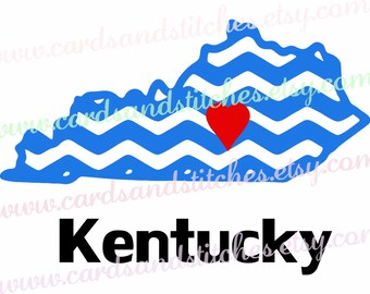 Kentucky SVG - Chevron States SVG - States SVG - Digital Cutting File - Cricut Cut - Instant Download - Vector - Svg, Dxf, Jpg, Eps, Png