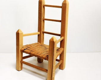 Wood Doll Chair, Vintage Folk Art Primitive Wooden Ladderback Chair with Rattan Seat, Toy Doll Furniture Display, Photo Prop itsyourcountry
