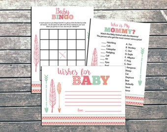 Boho Tribal Baby Shower Games Printable Baby Girl Tribal Arrow Baby Shower Game DIY Woodland Ikat Baby Wishes - INSTANT DOWLOAD
