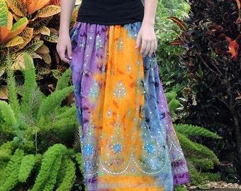 Tie Dye Skirt, Gypsy Skirt, Maxi Skirt, Bohemian Skirt, Festival Clothing, Fall Skirt, Sequin Skirt, Indian Skirt, Boho Clothing, Long Skirt