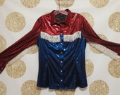 Vintage awesome Rodeo or Western Fringe Style Shirt.  Snap button up shirt - Size Medium