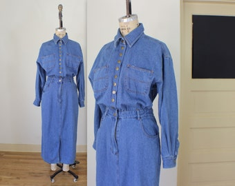 Denim Snap DRESS /  Medium Wash Jean Dress / Vintage Women's Clothing