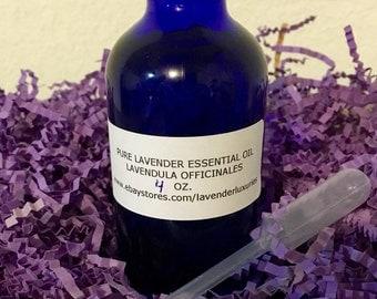 Pure Lavender Essential Oil 4 OZ Cobalt Blue Bottle