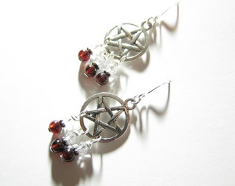 Garnet Gemstone Swarovski Crystal Chandelier Pentagram Earrings TCJG