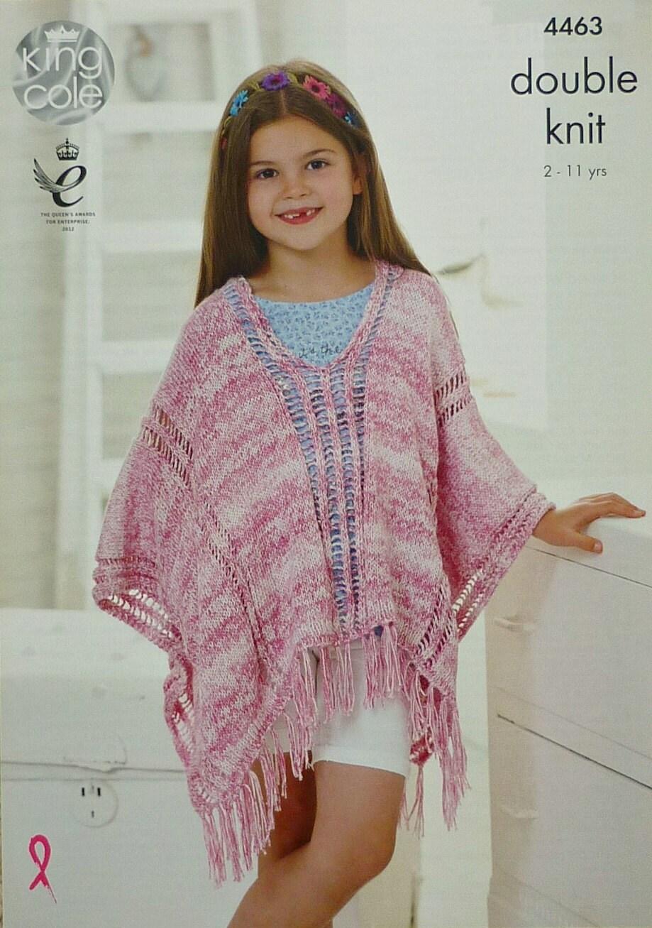 Knitting Pattern For Dk Poncho : Girls Knitting Pattern K4463 Childrens Deep Round Neck ...