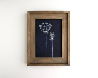 Framed Queen Anne's Lace Painting