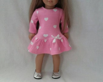 American Girl/18 Inch Doll Drop Waist Ruffle Dress: Pink with white hearts