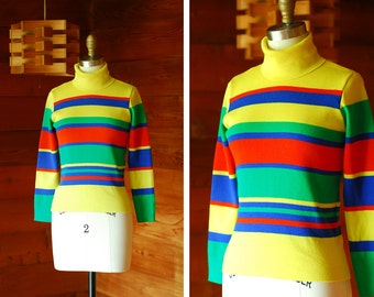 vintage colorful striped wool turtleneck sweater / size xs small