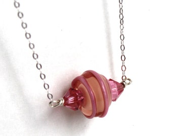 Lampwork and Swarovski Crystals Sterling Silver Jewelry Necklace- - Free U.S Shipping
