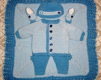 Crochet Baby Boy  Layette Sweater Set, With Leggings, Cap, Loafer Booties and Blanket Perfect For Baby Shower Gift or Take Me Home outfit