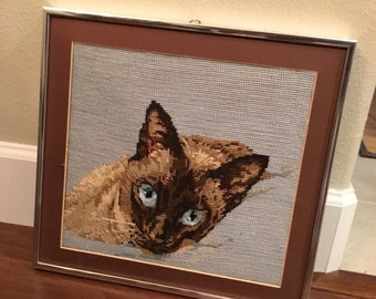 Siamese Cat face Needlepoint canvas's vintage framed
