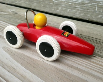 Vintage Red Brio Wooden Car - Vintage wooden toy, Made in Sweden