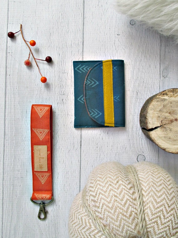 Burnt Orange Key Fob and Teal Card Wallet Gift Set. Teal & Mustard Gift Card Holder. Orange Key Fob. Coin Purse. Gifts Under 20.