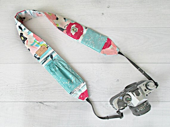 Padded Camera Strap | Pink Floral Strap with Aqua Lens Cap Pockets