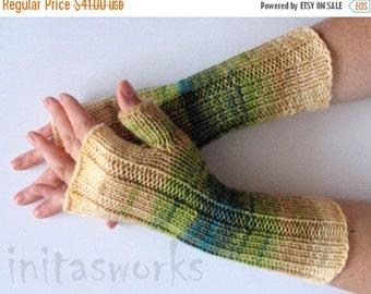 Fingerless Gloves Salad Green Moss Blue Beige wrist warmers