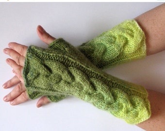 Fingerless Gloves Green Moss Salad Yellow wrist warmers