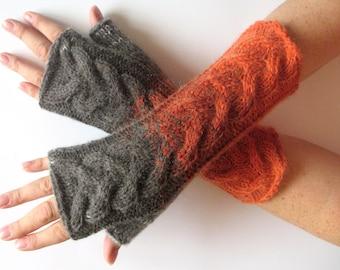 Brown Fingerless Gloves Knit Gloves Winter Gloves Orange Gray Long Fingerless Gloves Soft acrylic mohair wool