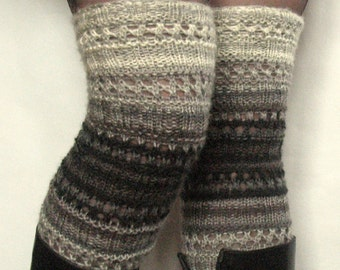 Boot Cuff Boot Toppers Leg Warmers Striped Gray Black Dark Gray Socks Knit Legwarmers Cable Knitted