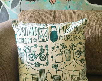 Pillow Cover - Portland, Oregon - 16 x 16 Hand Printed Design