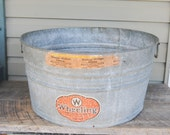 Vintage Wheeling No. 42 Galvanized Wash Tub Bucket Outdoor Planter Refreshment Tub with Handles