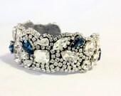 Custom listing for Amanda, Wedding Crystal Cuff Vintage Cuff, Montana Blue Swarovski Bracelet , Bridal Cuff, Statement Cuff,
