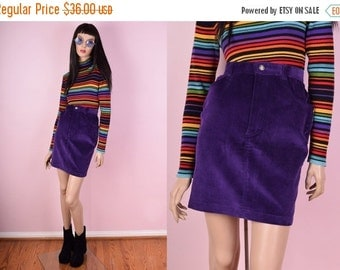 SUMMER SALE 90s Purple Corduroy Skirt