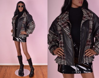 80s Plaid Houndstooth Leather and Wool Jacket/ Medium/ 1980s/ Coat/ Black/ White/ Red