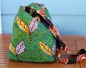 70's African Print Shoulder Bag - multicolor - double sided - minimalist boho tribal bag