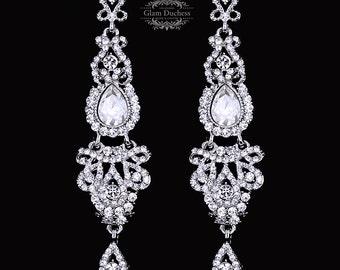Bridal jewelry, Bridal earrings, Wedding jewelry, crystal earrings, silver earrings, Vintage inspired chandelier wedding earrings